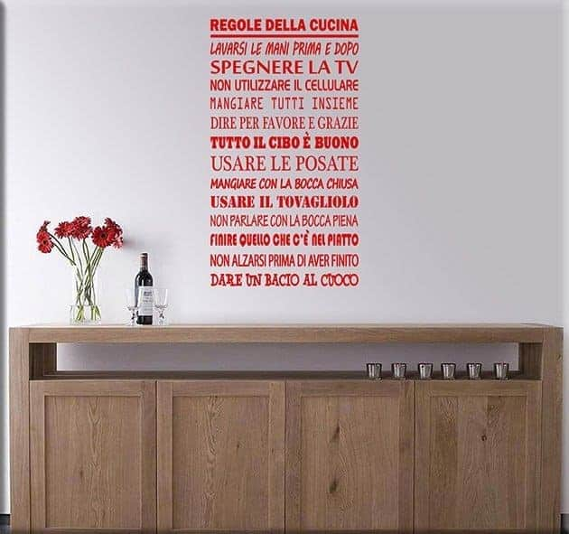 Wall stickers regole della cucina for Stickers murali cucina
