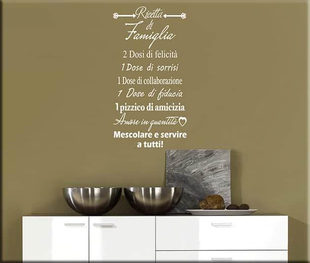 Wall stickers ricetta di famiglia for Adesivi x cucina