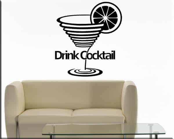 decorazioni adesive da muro drink cocktail bar