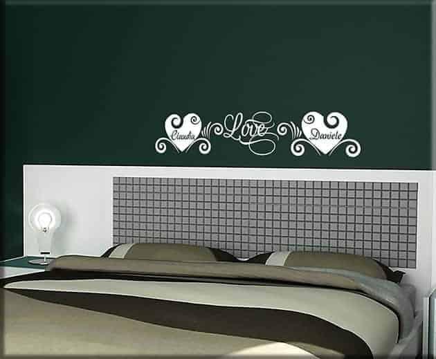 decorazioni murali love personalizzati letto