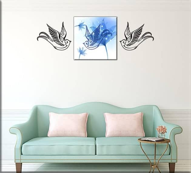 quadro moderno e adesivi murali uccelli