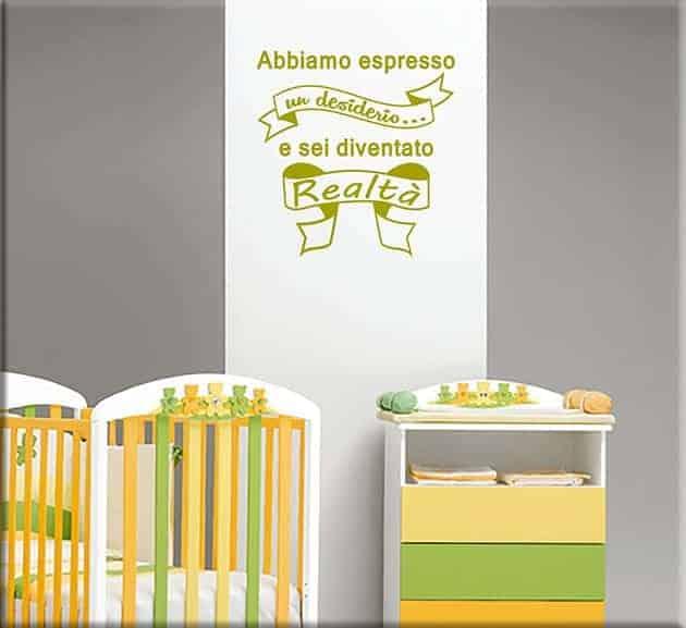 wall stickers frase bebè bambino