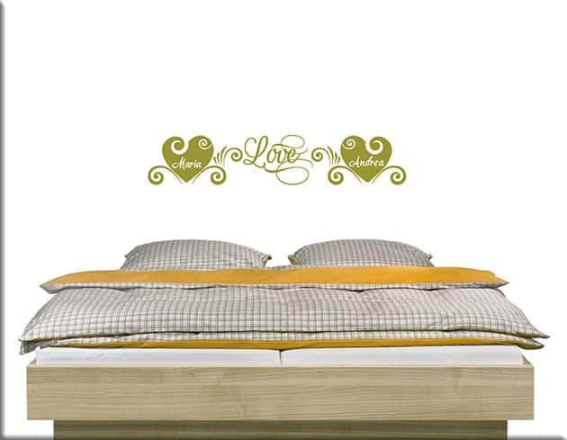 Adesivi da parete love personalizzati letto - Adesivi parete camera da letto ...