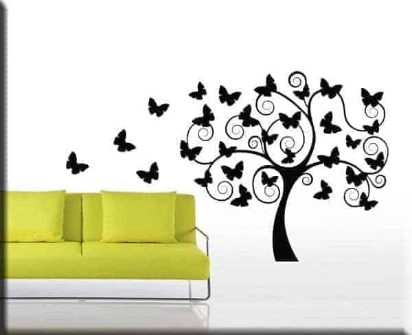 Adesivi da parete albero stilizzato farfalle - Albero su parete ...
