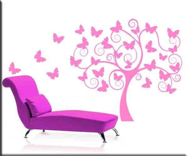 Adesivi murali albero stilizzato farfalle