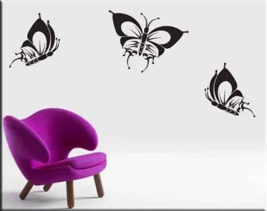 Adesivi murali tre farfalle