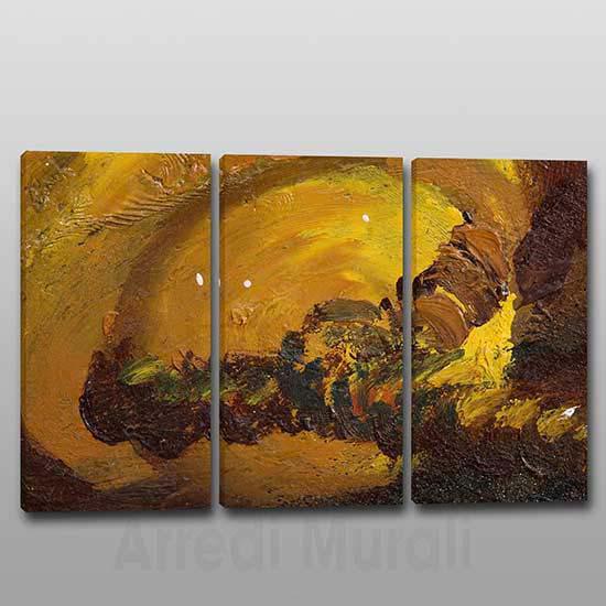 Quadri moderni arte astratta 3 tele toni del marrone