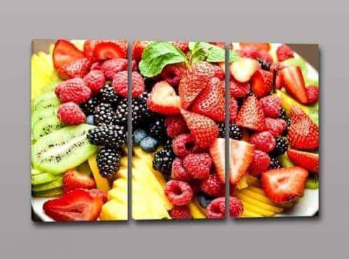 Tris quadri moderni colori frutta
