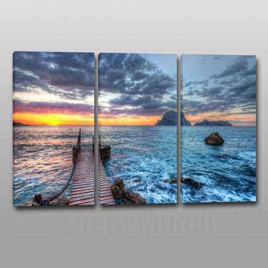 3 quadri moderni paesaggio mare