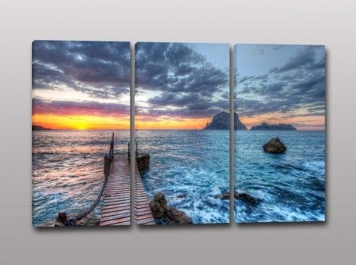 Tris quadri moderni paesaggio mare