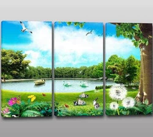 Tris quadri moderni paesaggio natura
