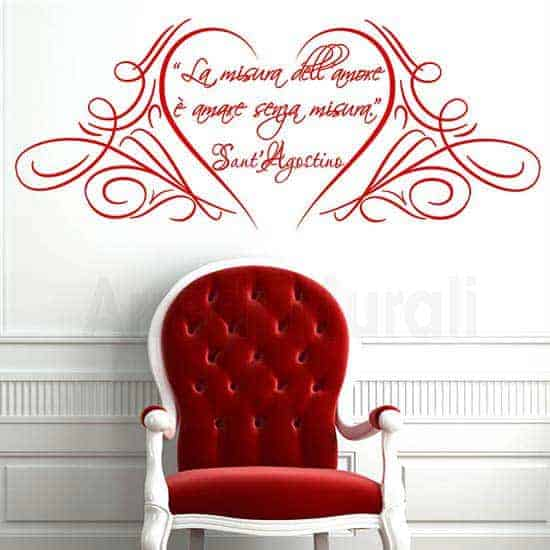 Wall stickers adesivi frase sant'Agostino rosso