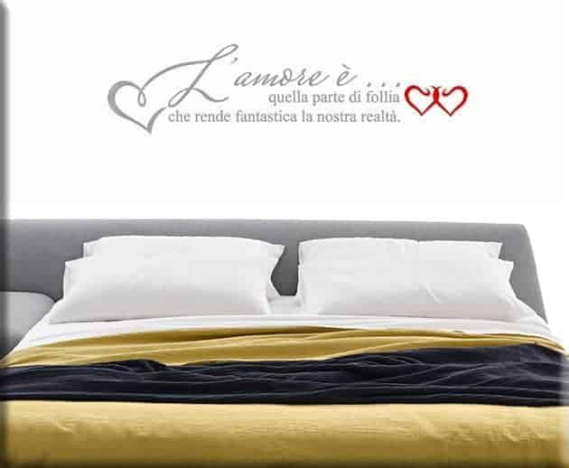 Adesivi da parete frase amore letto - Disegni parete camera da letto ...