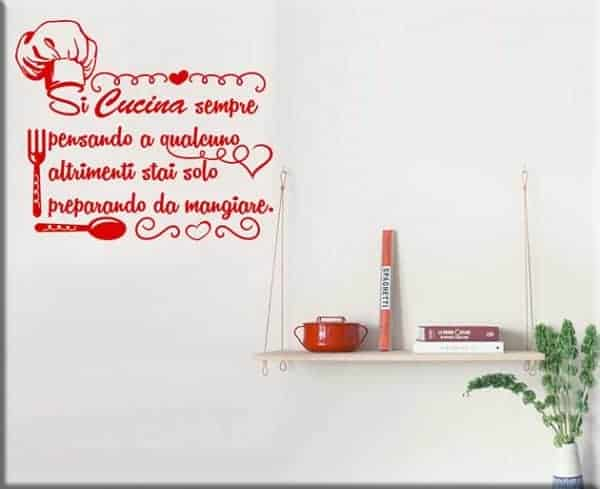 Decorazioni adesive murali frase cucina for Adesivi cucina