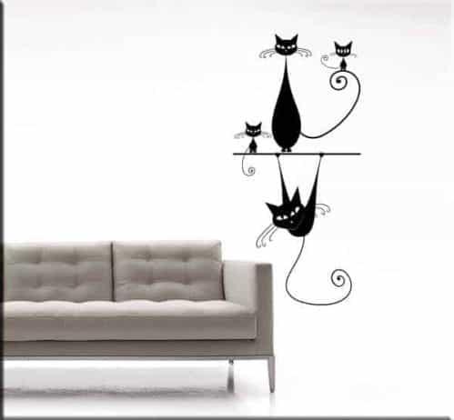 adesivi da parete gatti stilizzati