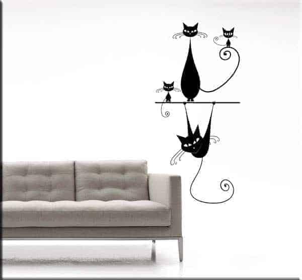 Adesivi da parete gatti stilizzati for Disegni da parete