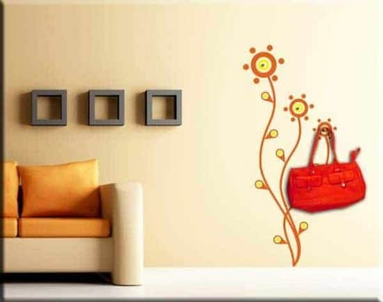 adesivi murali appendiabiti moderno fiori