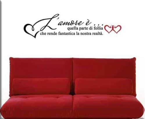 adesivi murali frase amore letto