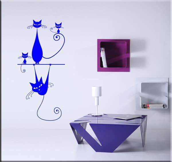 decorazioni adesive murali gatti