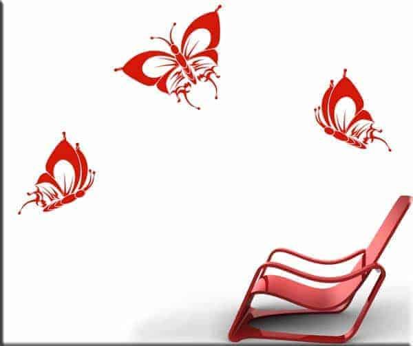 decorazioni adesive murali tre farfalle