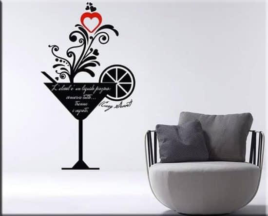 decorazioni murali bar frase Cary Grant