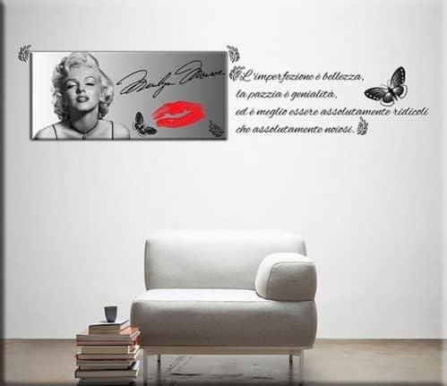 quadro moderno Marilyn Monroe e adesivi murali citazione
