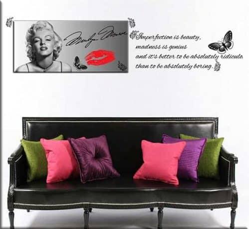 quadro moderno Marilyn Monroe e adesivi murali frase