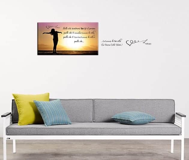 quadro moderno frase e wall stickers