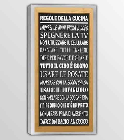 quadro moderno frase regole della cucina