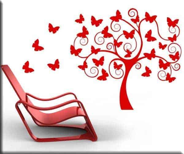 wall stickers albero stilizzato farfalle