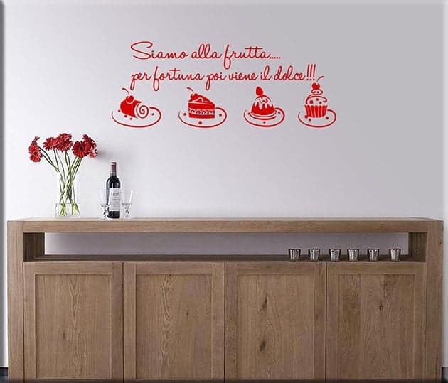 Adesivi da parete frase cucina dolci - Stickers cucina ...