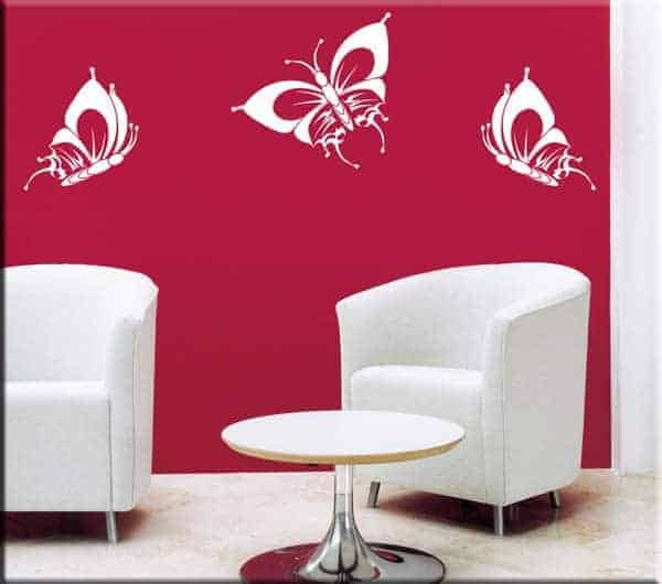 wall stickers tre farfalle