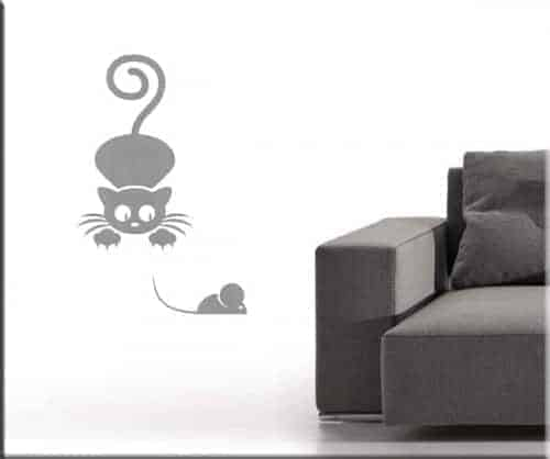 Adesivi da parete gatto e topo
