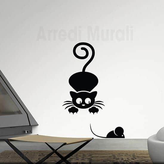 Adesivi da parete gatto topo nero