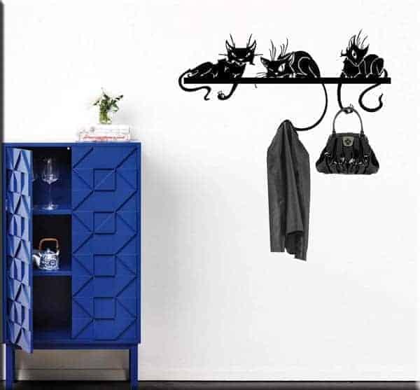 Adesivi murali appendiabiti gatti