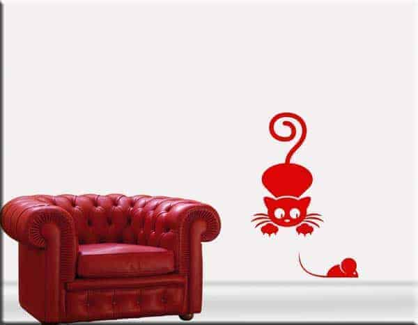 Adesivi murali gatto e topo
