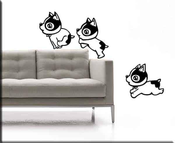 Adesivi murali tre cagnolini bambini
