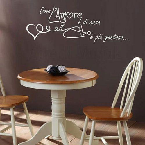 Adesivo murale frase amore cucina bianco