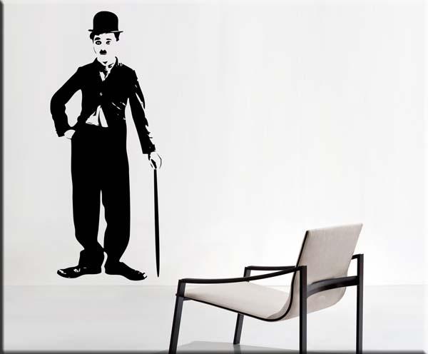 Adesivi Murali Charlie Chaplin.Decorazioni Adesive Murali Charlie Chaplin Ws0483