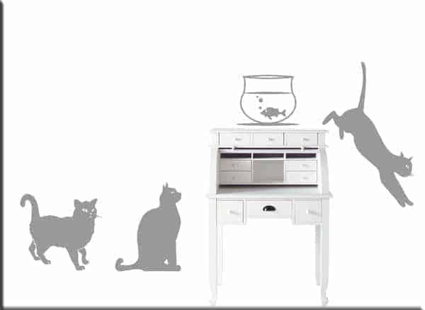 Decorazioni adesive murali gatti arredo