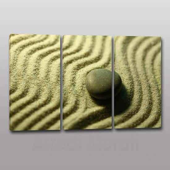 Quadri moderni pietra sabbia Zen 3 tele