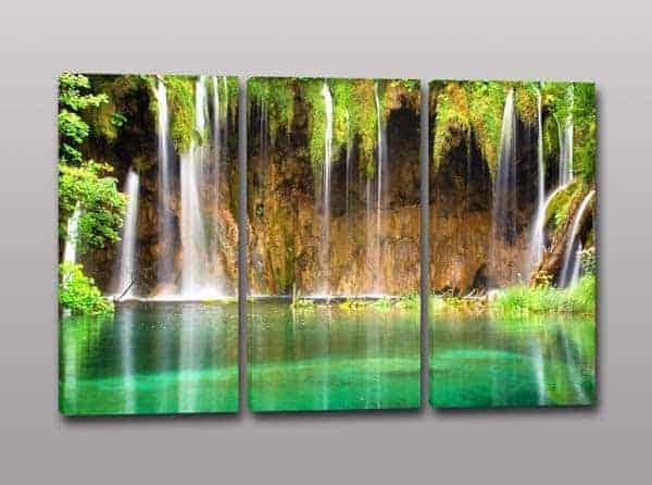Tris quadri moderni paesaggio cascata