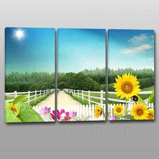 3 tele con paesaggio naturale in arte digitale