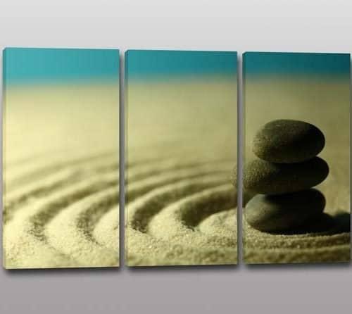 Tris quadri moderni pietre sabbia