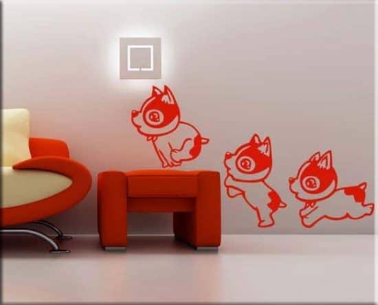 adesivi da parete cagnolini bambini