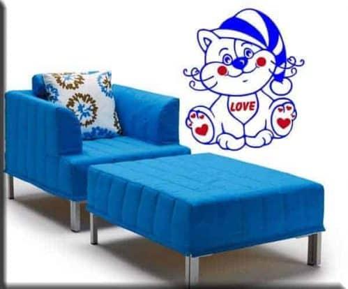 adesivi da parete gatto love bambini