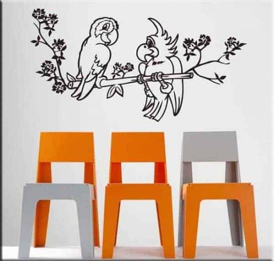 adesivi da parete pappagalli bambini