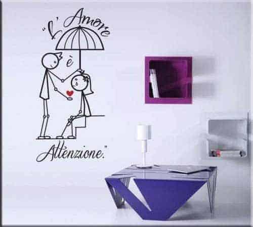 adesivi murali amore attenzione