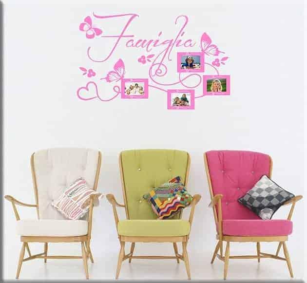 adesivi murali cornici foto famiglia