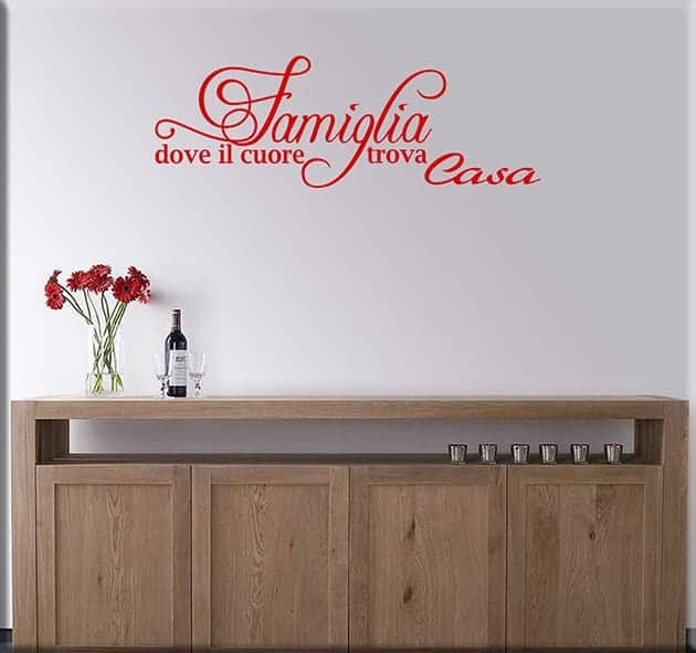 adesivi murali frase famiglia